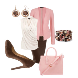 Brown Pencil Skirt with Pink Jacket